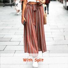 Simpleeแยกลายผู้หญิงกว้างขากางเกงผู้หญิงฤดูร้อนสูงเอวกางเกงChic Streetwear SashกางเกงลำลองCaprisหญิง
