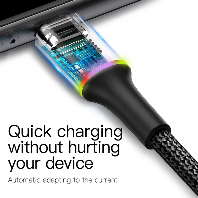 Baseus LED USB Cable For iPhone 11 Pro Xs Max X Xr 8 7 6 6S 5S Fast Charging Charger Mobile Phone Date Cable For iPad Wire Cord