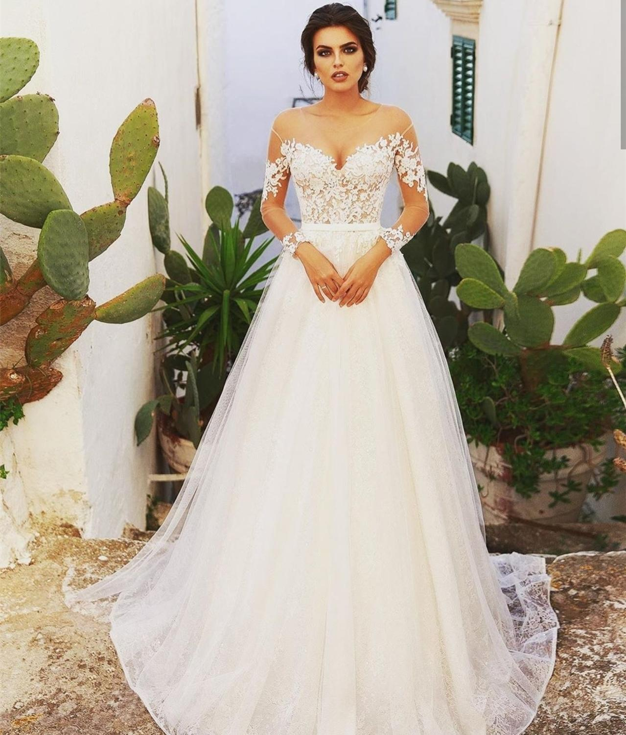 Wedding Dress 2020 Long Sleeve Sweetheart A-Line Tule Cap Sleeve With Long Train Sweetheart Vestidos De Novia Talles Grandes New