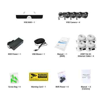 H.265 4MP POE Security Camera System Kit IP Camera IR Outdoor Waterproof CCTV Video Surveillance NVR Set