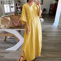 2020 Fashion ZANZEA Hooded Dress Plus Size Women Pockets Long Maxi Vestidos Ladies Cotton Half Sleeve Summer Sundress Robe Femme