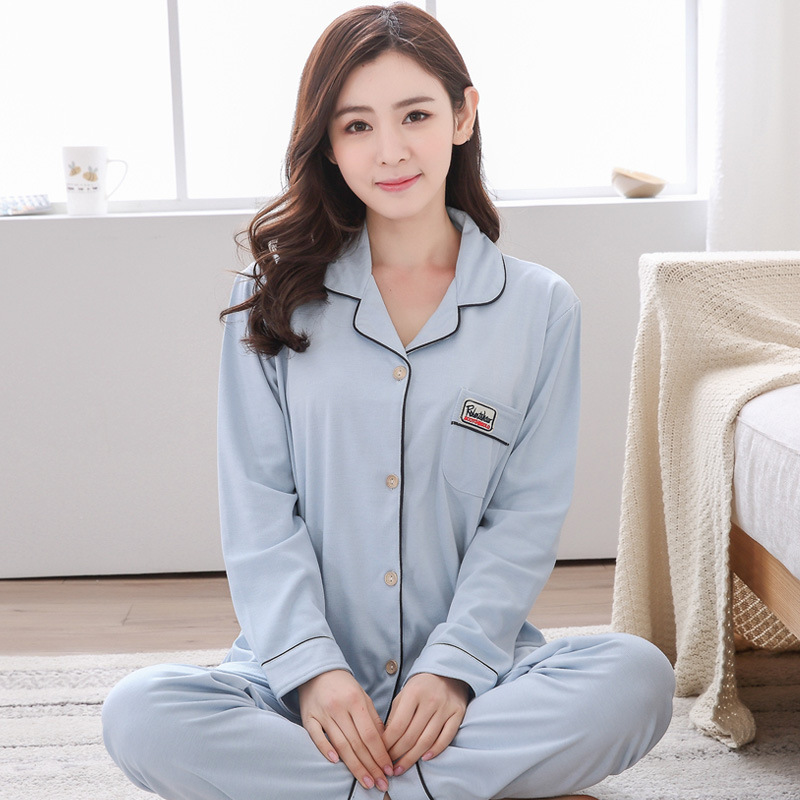 Pajamas Women Long Sleeve Autumn And Winter WOMEN'S Cardigan Fold-down Collar Cotton Simple Greenish Blue Middle-aged Spring And