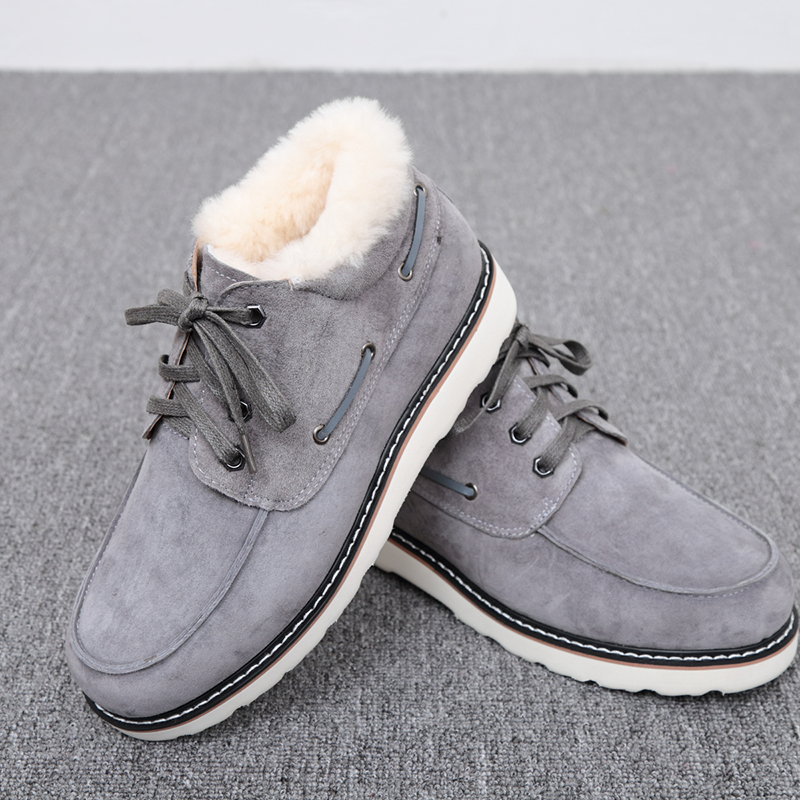 Top Quality Fashion Beckham snow boots for men lace up winter shoes real sheepskin leather nature wool fur ankle short boots - 3