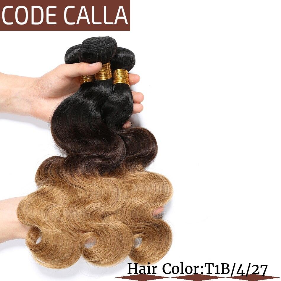 Код Calla Ombre цвет тела волна Связки с 4*4 Кружева Закрытие Необработанные бразильские необработанные девственные человеческие волосы Weft расширение - 4