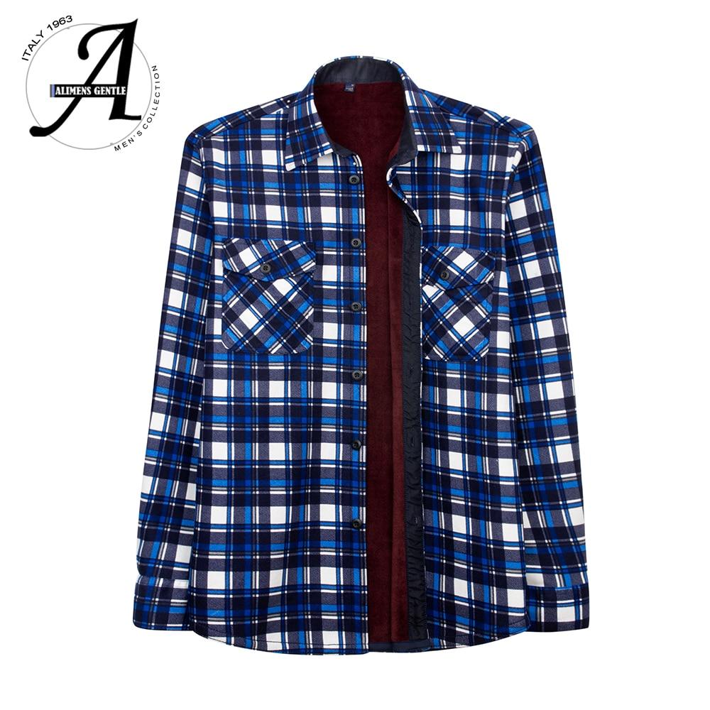 Plus Velvet Flannel Style Plaid Shirt Men Casual Long Sleeve Winter Shirts