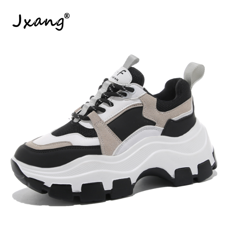 JXANG Women's Chunky Sneakers Spring And Autumn Fashion Women's Shoes Black And White Platform Flat Women's Casual Shoes