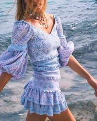 Богемный Вдохновленный цветочный цвет, лоскутное мини-платье, вечерние платья с пышными рукавами и оборками, женское Многоуровневое сексуа...