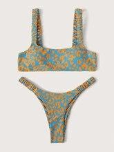 Sexy Micro Bikini 2020 Women Orange Leopard Push Up Padded Thong Swimsuit Female Cut Out Bathing Suit Swimwear Trajes De Bano