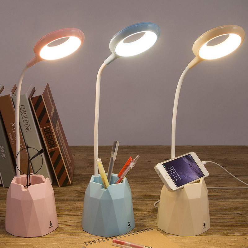 2000/4000mah Led Table Touch Desk Lamp Flexible Reading Ring Light Rechargeable For Children With Phone Hoder Pen Holder Pot