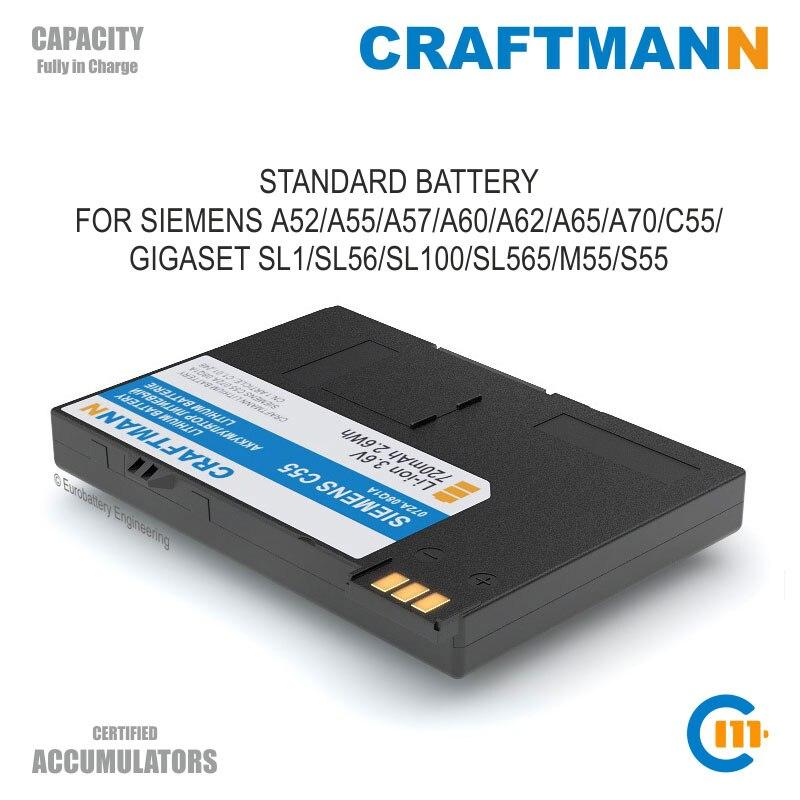 Replacement Battery 720mAh Siemens A51/A52/A55/A57/A60/A62/A65/A70/A75/C55/C60/GIGASET SL1/SL56/SL100/SL565/M55/S55 (EBA 510) Mobile Phone Batteries    - AliExpress