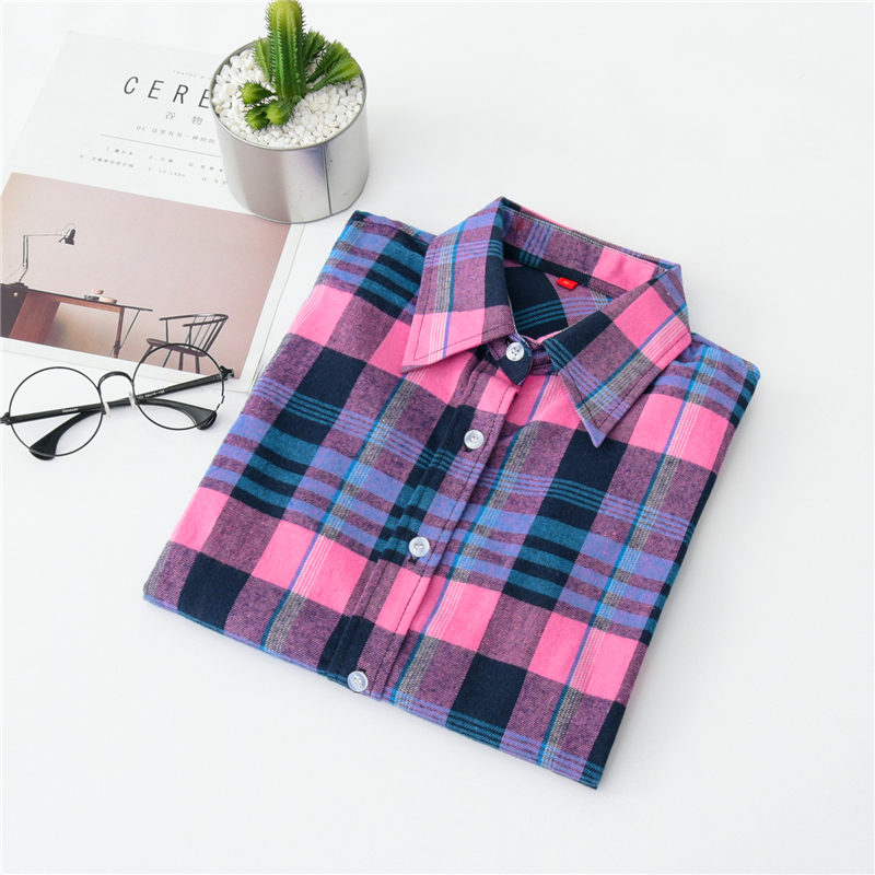2020 New Women Blouses Brand New Excellent Quality Cotton 32style Plaid Shirt Women Casual Long Sleeve Shirt Tops Lady Clothes 26