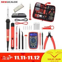 NEWACALOX EU/UNS 60W/80W Elektrische Lötkolben Kit Digital Multimeter LCD Schweißen Gun Set Entlöten pumpe Schweißen Reparatur Werkzeug