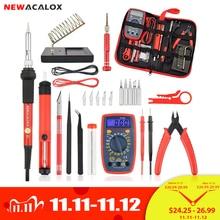 Newacalox Eu/Us 60W/80W Elektrische Soldeerbout Kit Digitale Multimeter Lcd Lassen Pistool Set Desolderen pomp Lassen Reparatie Tool