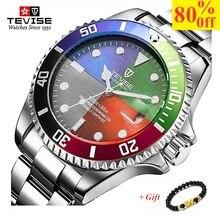 Часы TEVISE мужские Кварцевые водонепроницаемые из нержавеющей стали, брендовые люксовые повседневные наручные, 2020