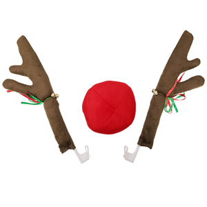 Reindeer Antlers with Bell Red Nose Ball Car Truck Christmas Decoration PR Sale