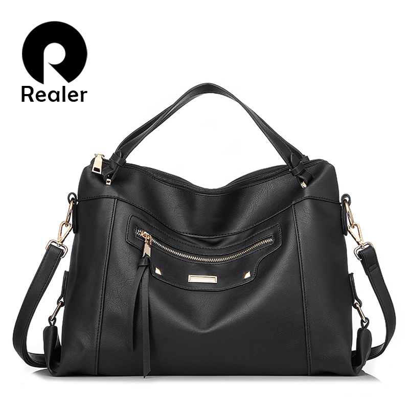REALER Women Handbags Urban Gypsy Female Crossbody Shoulder Bag For Women PU Leather Large Messenger Bag Ladies Fashion Tote