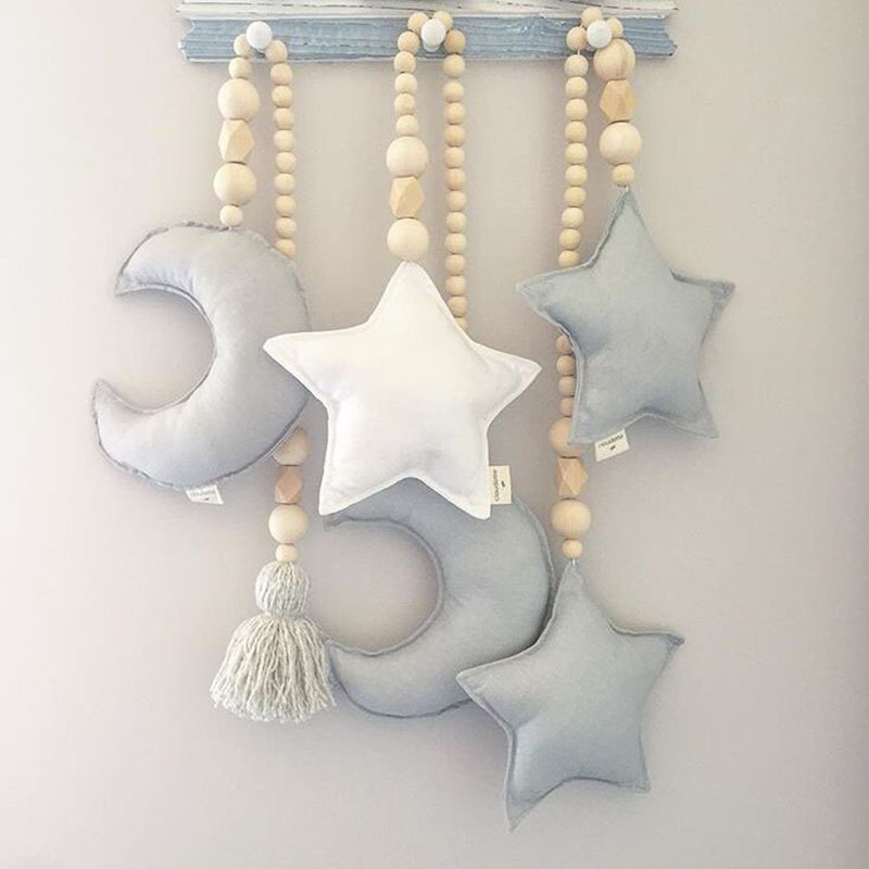 Baby Decoration Gift Moon Stars Wooden Beads Hairball Strings Toys Kids Bed Room Crib Tent Decor Ornaments Photography Props