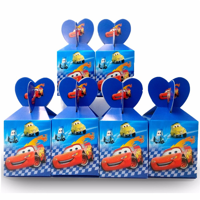 6pcs/set Disney Cars Lightning Mcqueen Paper Candy Box Party Supplies Candy Box Baby Shower Disposable Candy Birthday Decoration