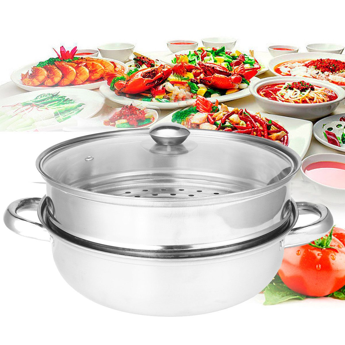 2 Tiers Food Steamer Pot Steaming Cookware Kitchen Tool Todays Specials Stainless Steel