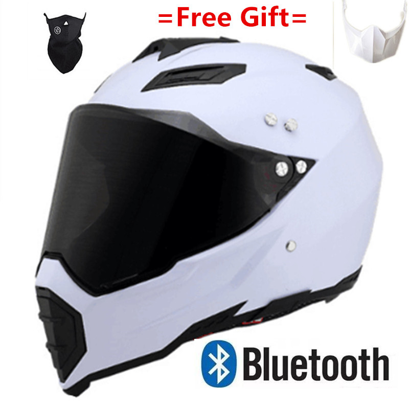 DOT Solid Matt Black Motorcycle Helmet Full Face Scooter Crash Motorbike Safety With Bluetooth