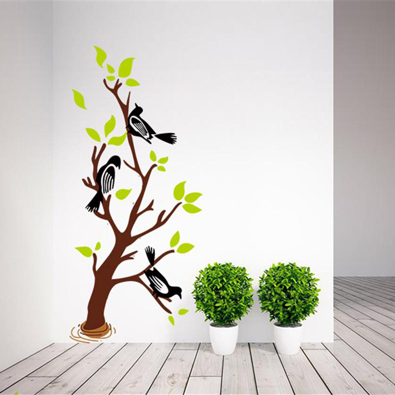 Съемные настенные Стикеры с изображением дерева и птицы для домашнего декора, настенные наклейки для гостиной, художественные наклейки для украшения дома, настенные водонепроницаемые обои|Наклейки на стену|   | АлиЭкспресс