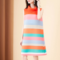 Summer Dress 2020 Plus Size For Women 45 75KG New Fashion Striped Stretch Miyake Pleated Sleeveless Loose A Line Dress