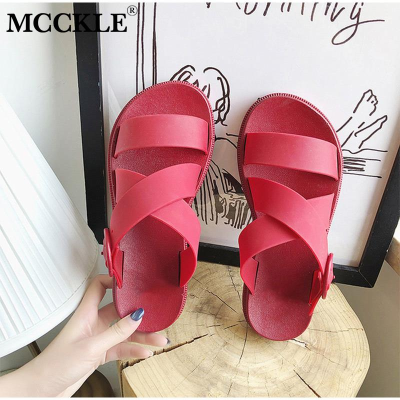 MCCKLE Women Summer Pvc Slippers Slip On Thick Bottom Platform Woman Open Toe Casual Beach Shoes Female Cross Strap Slides New