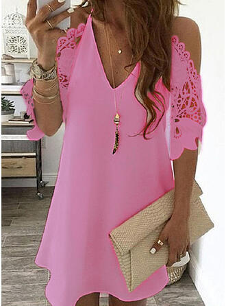Women's Lace Splicing Dress V-neck Off Shoulder Sling Mini Dress Solid Color Casual  Hollow out Sleeve Dress 10