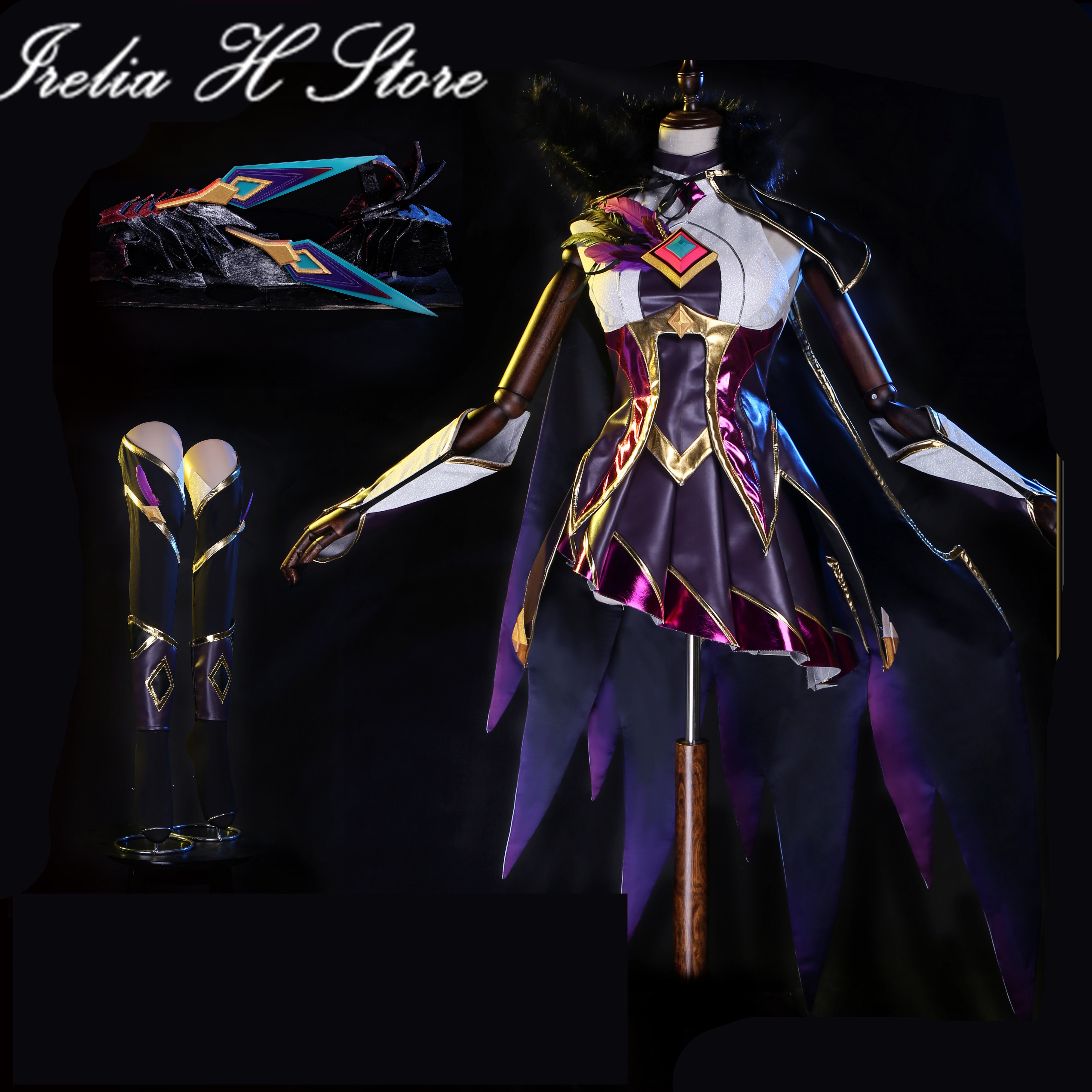 Custom made Xayah LOL Game Cosplay Star Guardian Xayah Cosplay costume dress female customized dress cloak feather weapons props 1