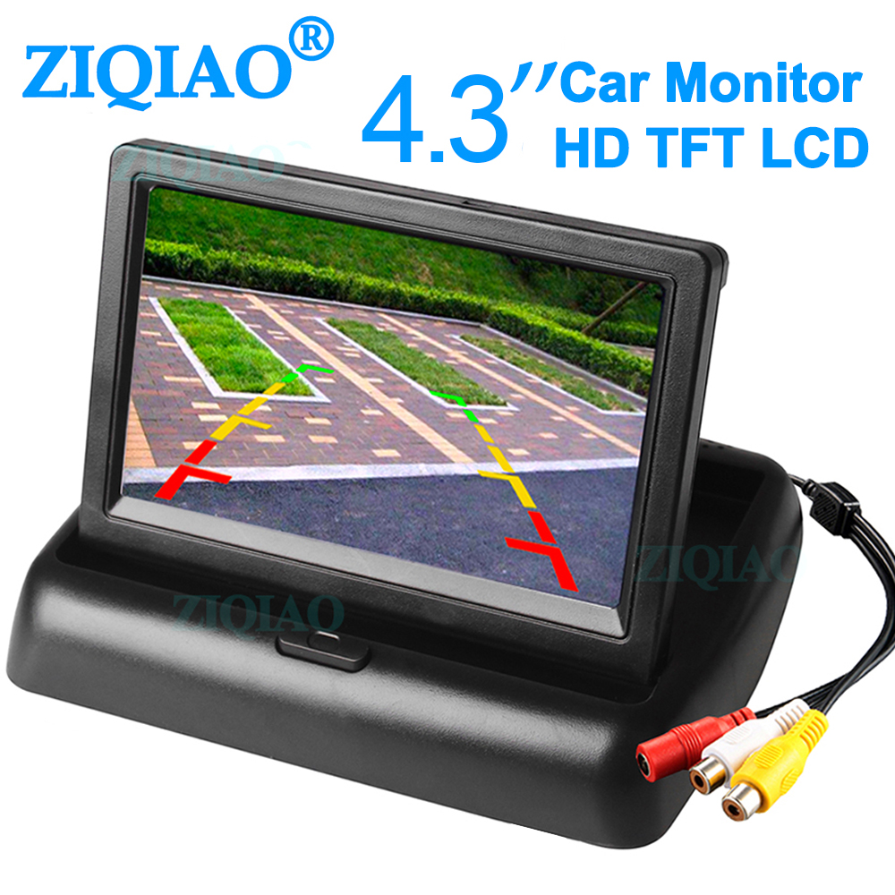 Parking Rearview System Monitor Foldable 4.3 Inch TFT LCD Car Rear View Monitor DVD Display with 2 channel Video Input|Car Monitors| |  - title=
