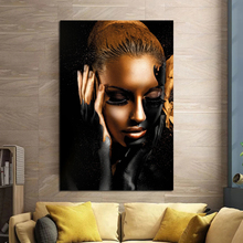 Nordic Pictures Modern Black Woman Eyes Closed Wall Art Canvas Painting For Home Decoration On Unique Gift