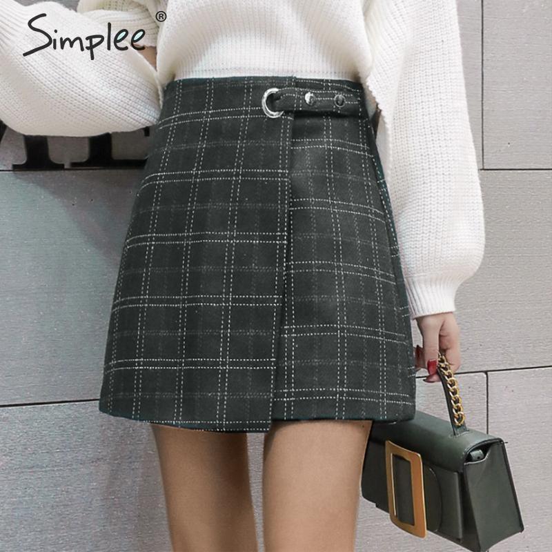 Simplee High Waist Plaid Mini Skirt Women Asymmetrical Casual Streetwear Female Short Skirt Autumn Winter Office Ladies Skirt
