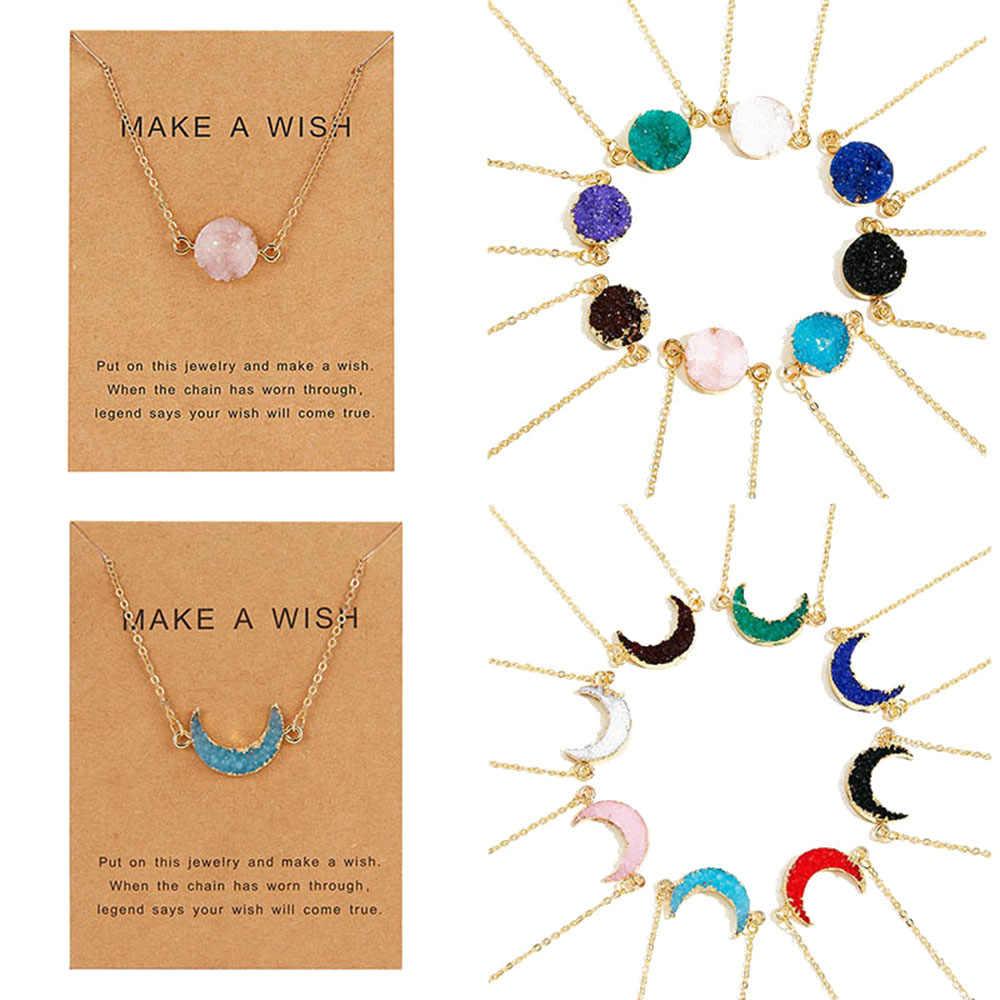 Ожерелье в форме Луны для женщин, модное красочное колье из искусственного камня с бумажной открыткой, ювелирное изделие, колье для женщин 2019