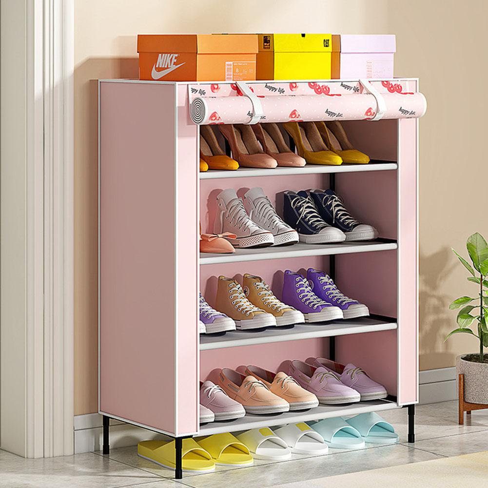 Simple Shoe Cabinet with Curtained Door Assembly Modern Shoe Rack for Home Storage|  - title=