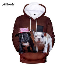 New French Bulldog Hoodie Men/Women Fashion Hoodies 3D Cute Dog With Hat French Bulldog Mens Winter Sweatshirts Hooded Coats(China)