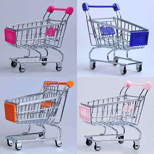 1Pcs Supermarkt Hand Trolley Mini Winkelwagen Desktop Decoratie Opslag Speelgoed Gift Winkelwagen Opslag Cartoon Speelgoed Voor Kinderen
