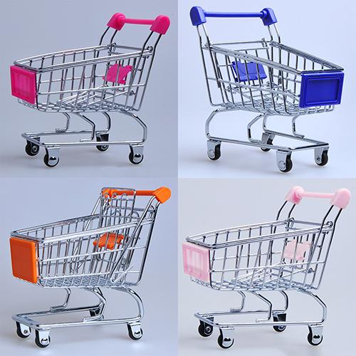 1Pcs Supermarket Hand Trolley Mini Shopping Cart Desktop Decoration Storage Toy Gift Shopping Cart Storage Cartoon Toy For Kids