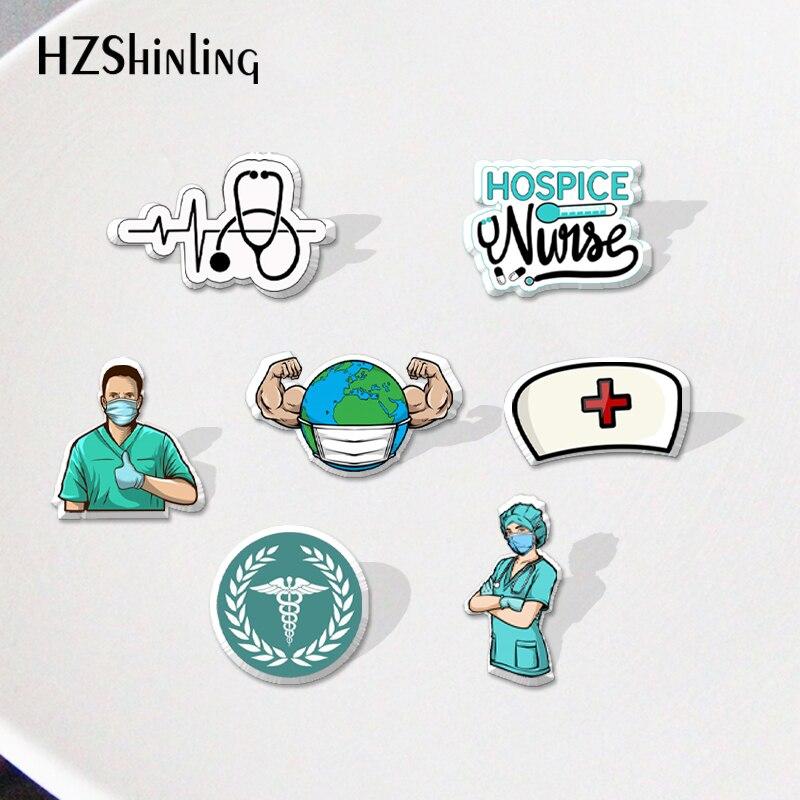 Медсестра мультфильм акриловые блестящий значок смолы эпоксидные украшения