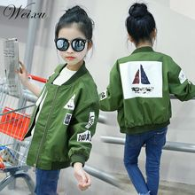 2017 Spring Autumn Bomber Jackets for Girls Army Green Coats and Childrens Zipper Windbreaker Outwear Clothes