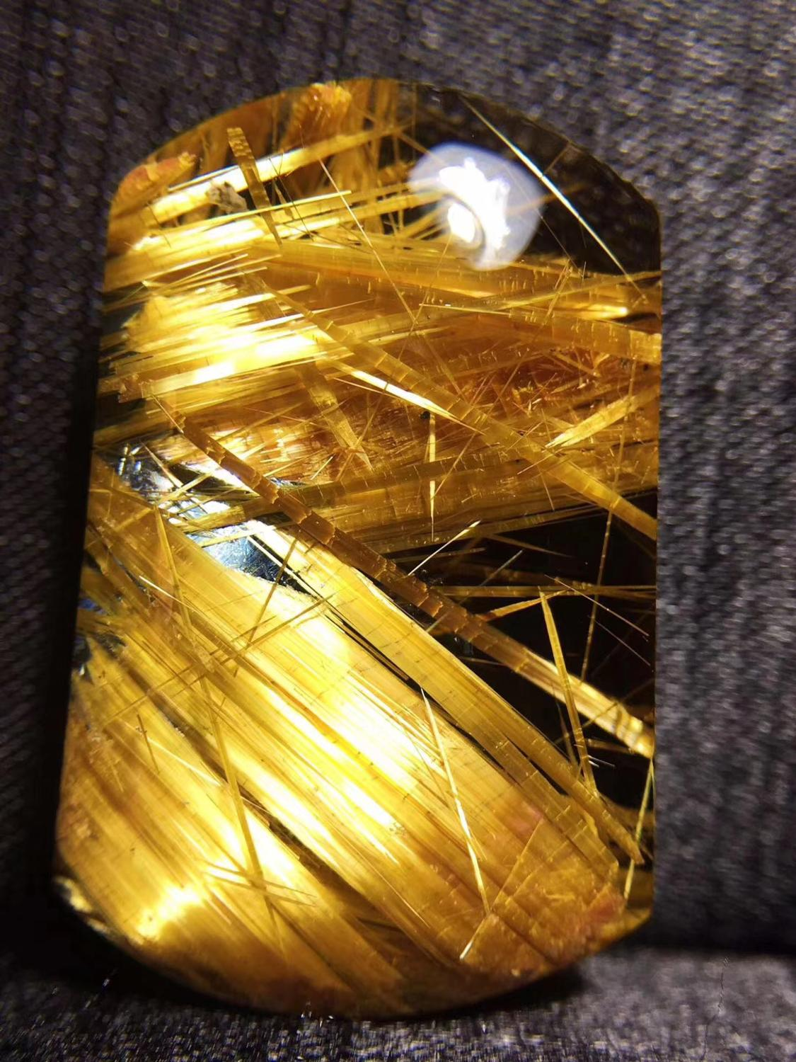 Top Quality Natural Gold Rutilated Quartz Pendant 33x21x12mm Titanium Rectangle Crystal Wealthy Stone AAAAAA Certificate