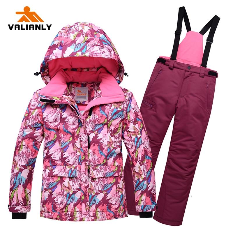 2019 High Quality Kids Girls Ski Suit One-piece Winter Snowsuit Outdoor Ski Jacket Pants Ski Snowboard Suits Detachable Hood