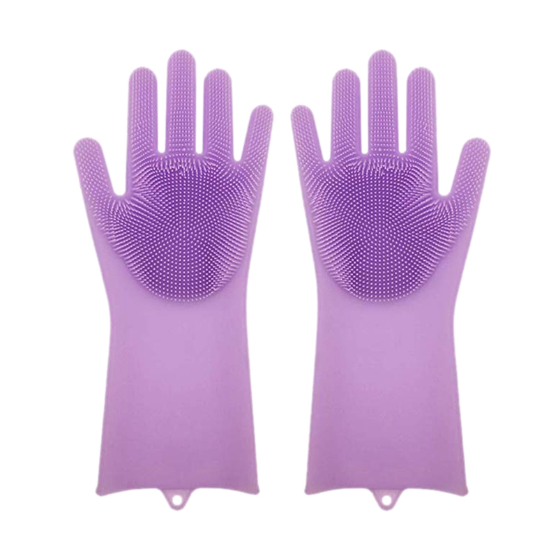 Ev ve Bahçe'ten Ev Eldivenleri'de 1 çift silikon bulaşık Scrubber kauçuk eldiven gıda sınıfı temizleme sünger bulaşık yıkama fırçaları sihirli silikon eldiven (mor) title=