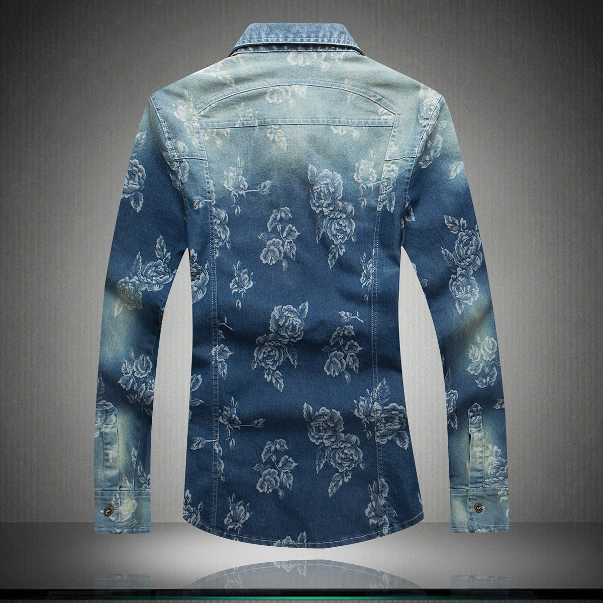 Spring And Autumn New Style Men's Printed Long Sleeve Denim Shirt Fashion Casual Large Size Men'S Wear Men Slim Fit Shirt