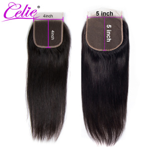 Image 3 - Celie Hair Brazilian Straight 5x5 Lace Closure Free/Middle Part 150% Density Natural Black Color Remy Human Hair Closure