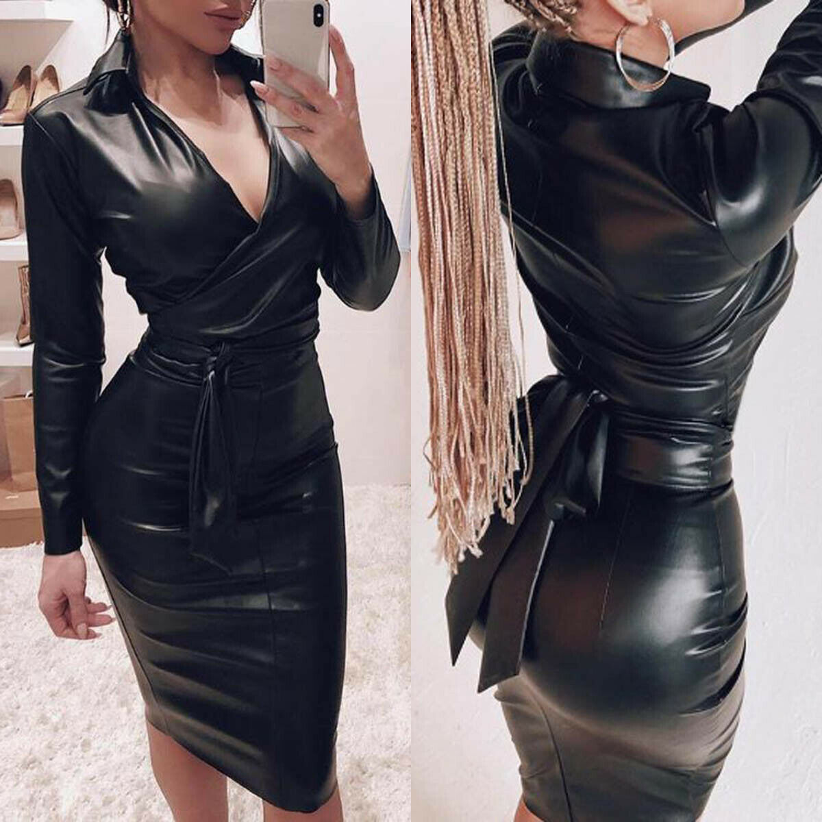 Women Sexy Leather Bodycon V-Neck Dress Deep Long Sleeve Empire Black Skinny Bodycon Midi Dress Night Club Sex Wear