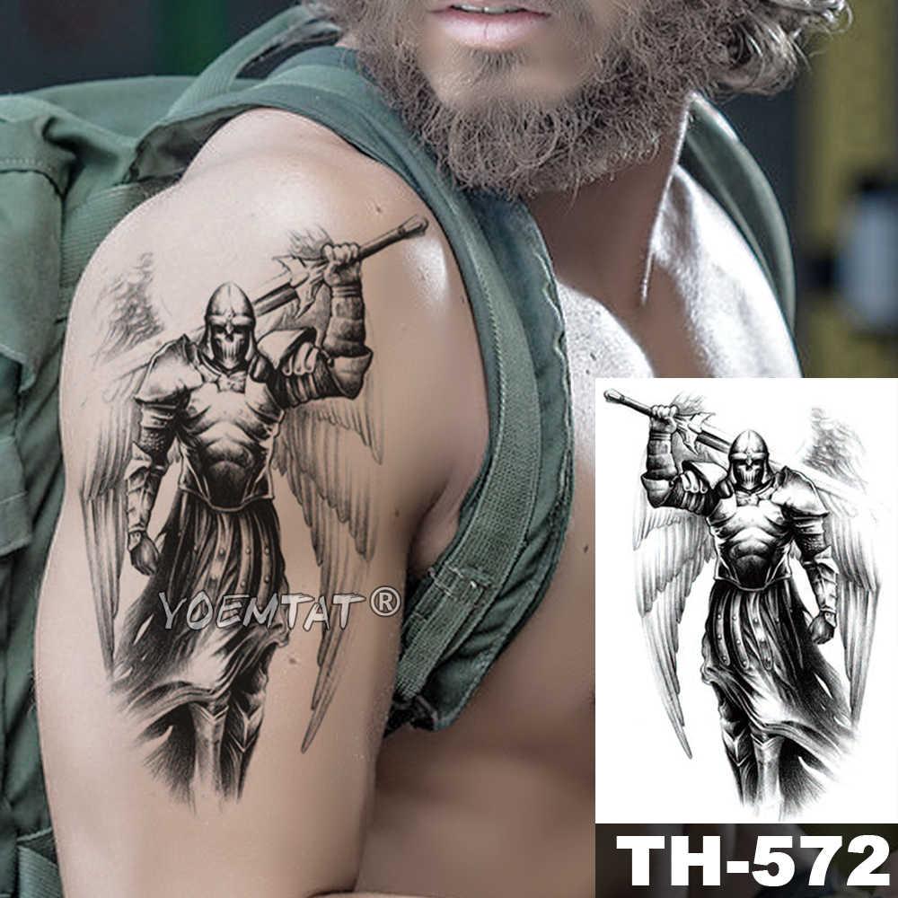 Japoński samuraj wojownik tymczasowa naklejka tatuaż Ares wodoodporny tatuaż bohater skrzydła Body Art ramię fałszywy tatuaż mężczyźni kobiety