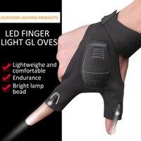 Guantes de pesca impermeables con linterna LED, luz nocturna, para pesca al aire libre, sin dedos, linterna para el campo, ciclismo