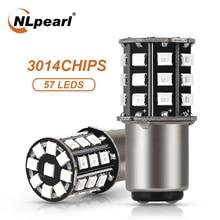 цена на NLpearl 2x Signal Lamp 1157 Bay15d LED P21/5W Auto Tail Brake Light 12V 2835 33 SMD Ba15s P21w 1156 Bau15s Car Turn Signals Bulb
