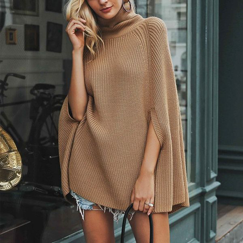 Turtleneck Oversize Knitted Sweaters Pullover 2019 Casual Loose Autumn Sweaters Women  Camel Black Winter Jumper Female Poncho