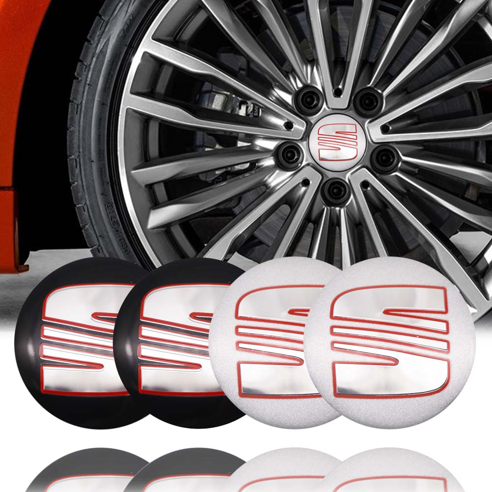 4pcs 56mm <font><b>Car</b></font> <font><b>Wheel</b></font> Center Caps Sticker for <font><b>Seat</b></font> ibiza 6j 6l fr Ateca <font><b>Altea</b></font> xl <font><b>leon</b></font> 2 ateca fr <font><b>Leon</b></font> ibiza Alhambra Accessories image